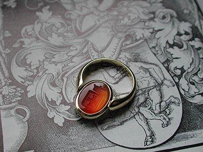 Zegelring Amsterdam - crest ring carnelian