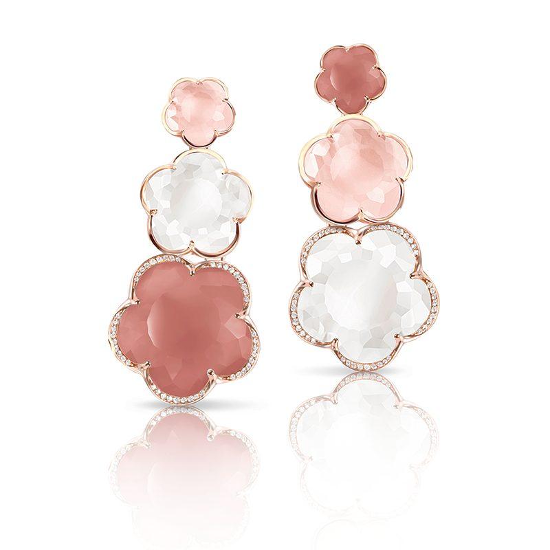 Pasquale Bruni Bonton oorsieraden met maansteen, rosequartz, agaat en diamant