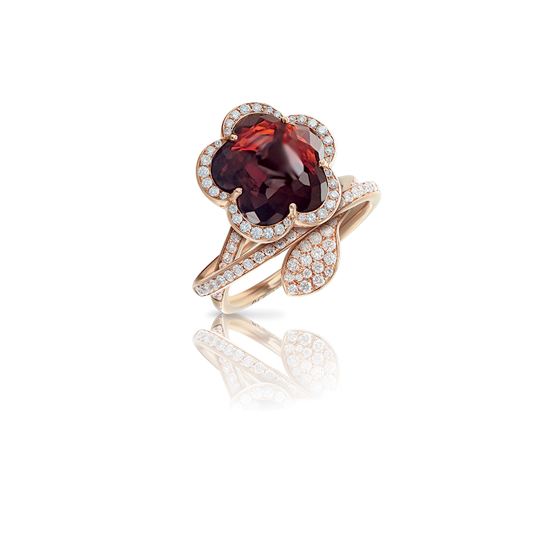 Pasquale Bruni 18kt pink gold ring with rhodolite and diamonds