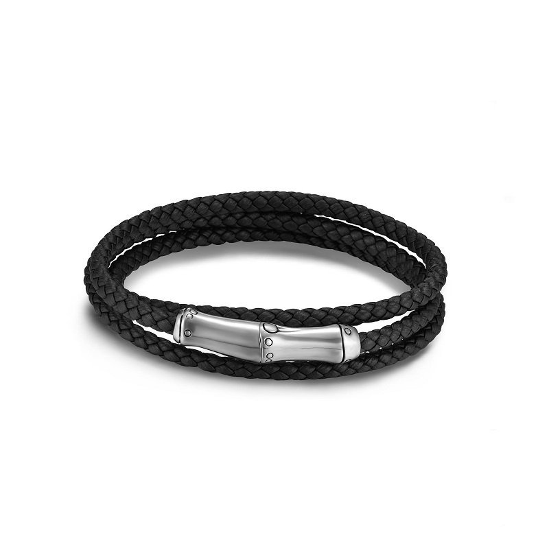 John Hardy Bamboo Silver & Leather Triple Wrap Bracelet