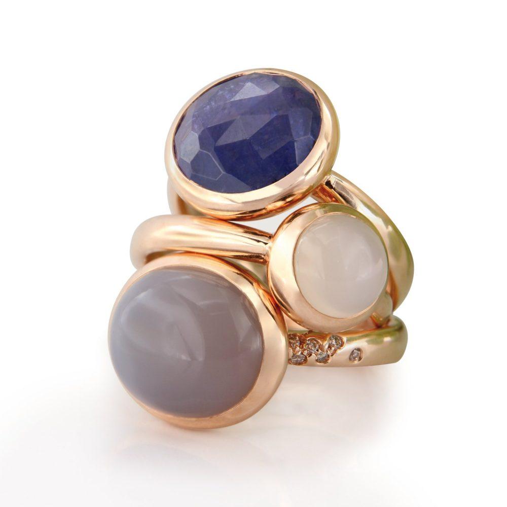 Bonebakker 18kt gold rings Moony collection various gemstones and diamonds