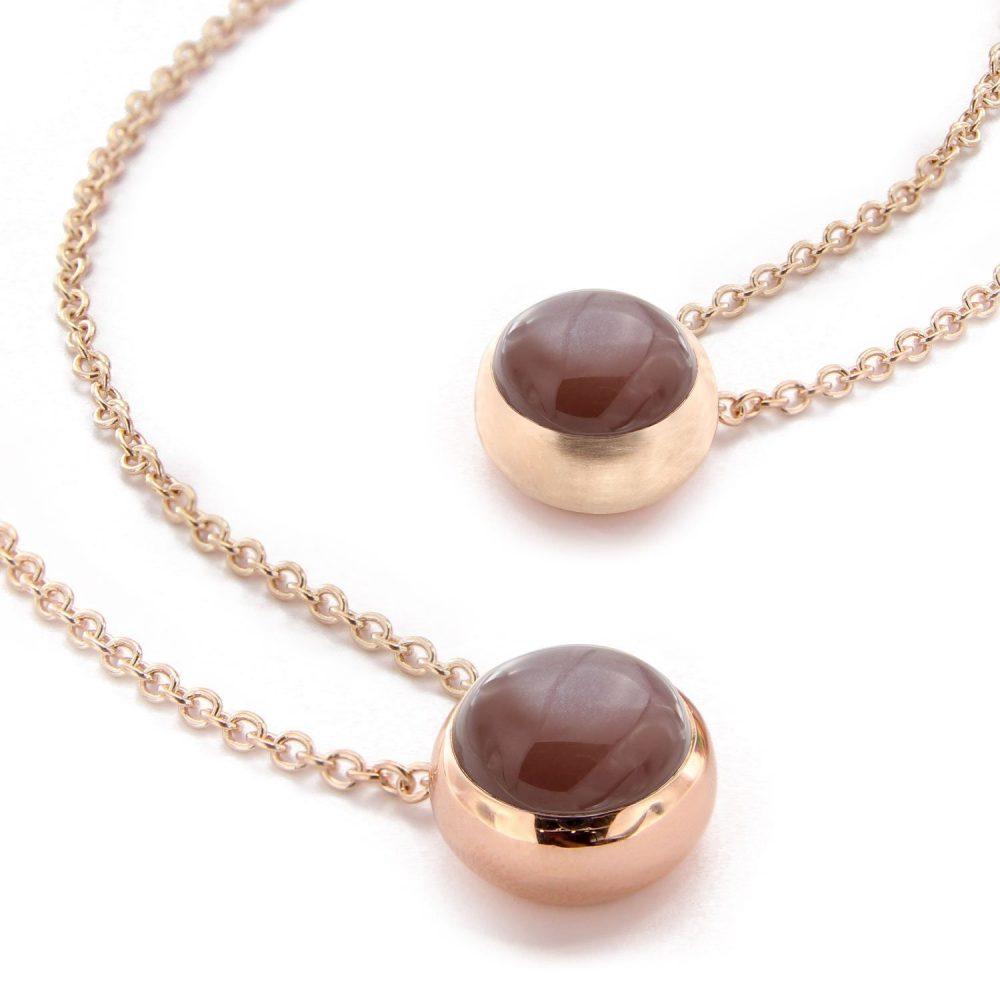 Bonebakker 18kt rose gold pendant with chocolate moonstone