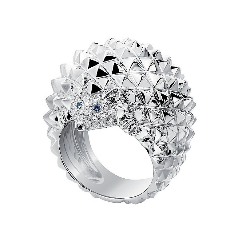 Boucheron 18kt white gold hedgehog ring