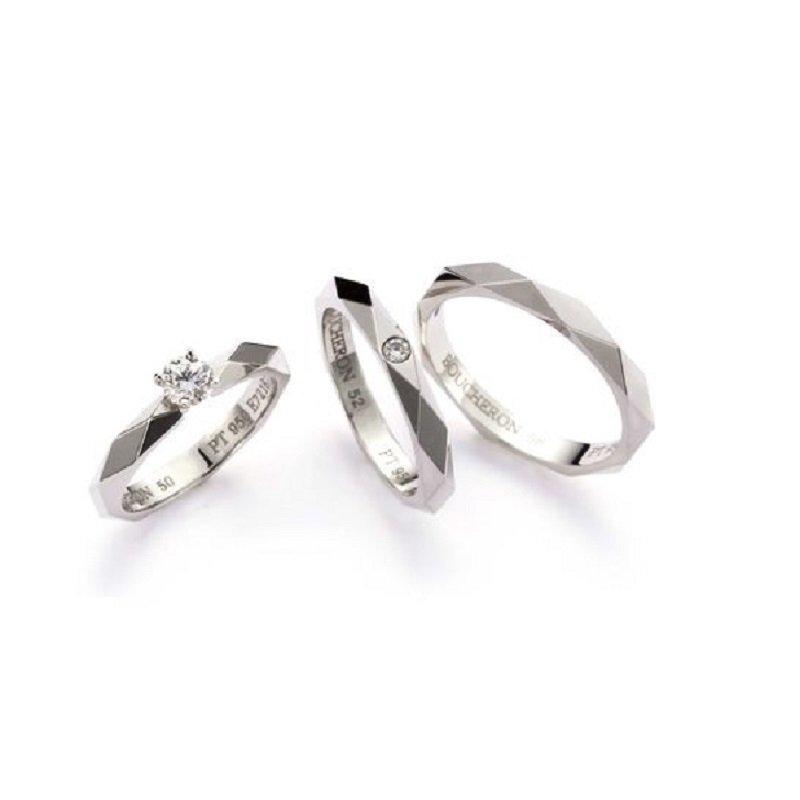 Platinum Facette rings by Boucheron