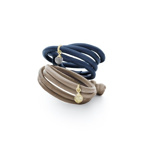Ole Lynggaard Leather bracelets with various charms in 18kt gold