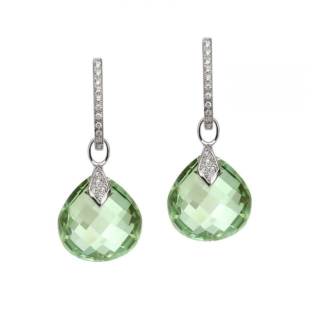 Bonebakker 18kt whitegold earrings with diamonds and prasiolite, drops are interchangeable