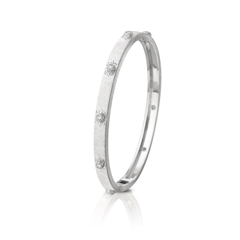 Buccellati Macri Classica 18kt white gold bangle with diamonds