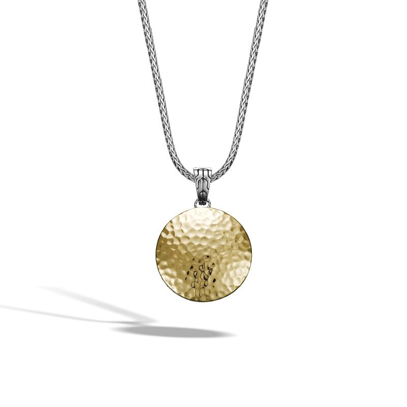 John Hardy Dot Hammered Reversible Pendant Necklace in Sterling Silver and Gold