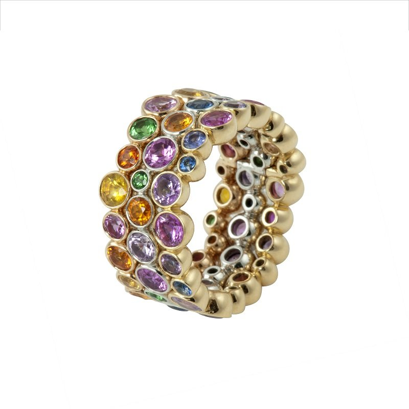 18kt yellow gold Rainbow Ring with various gemstones