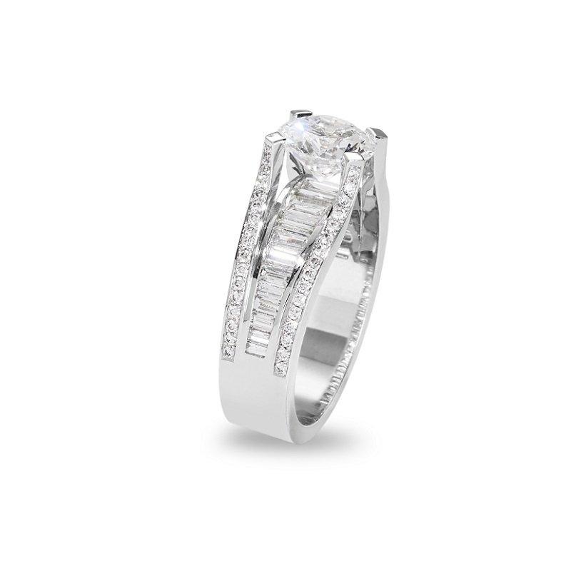 Bonebakker 18kt witgouden solitair ring met diamant; Walter Suskind ophaalbrug
