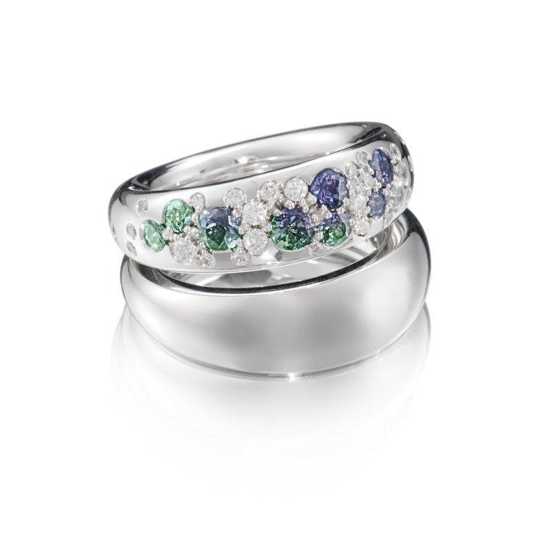 Bonebakker 18kt white gold rings with alexandrite and diamonds