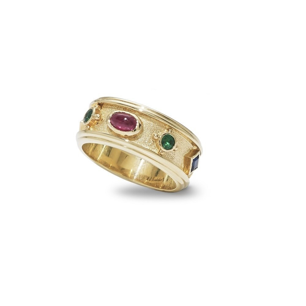 18kt yellow gold ring with rubies, emeralds and sapphires