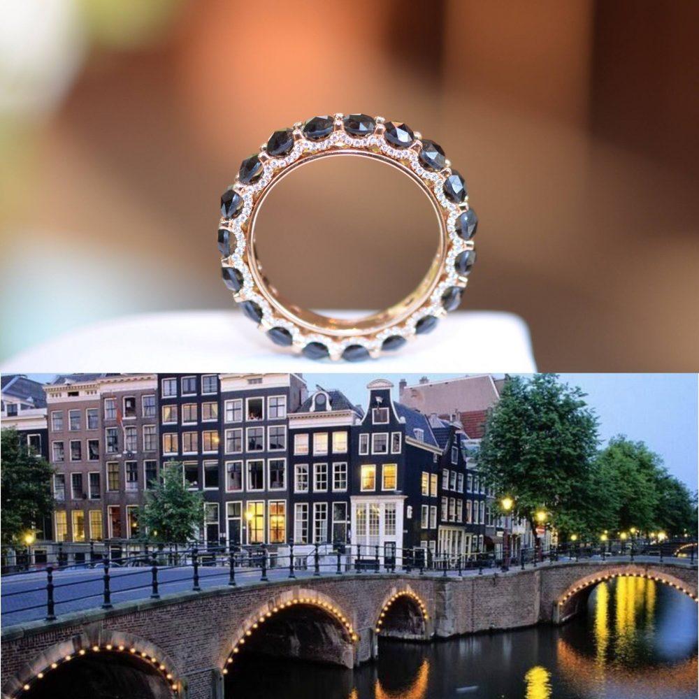 Bonebakker 18kt roseguden ring, verlichte bruggen over de Reguliersgracht