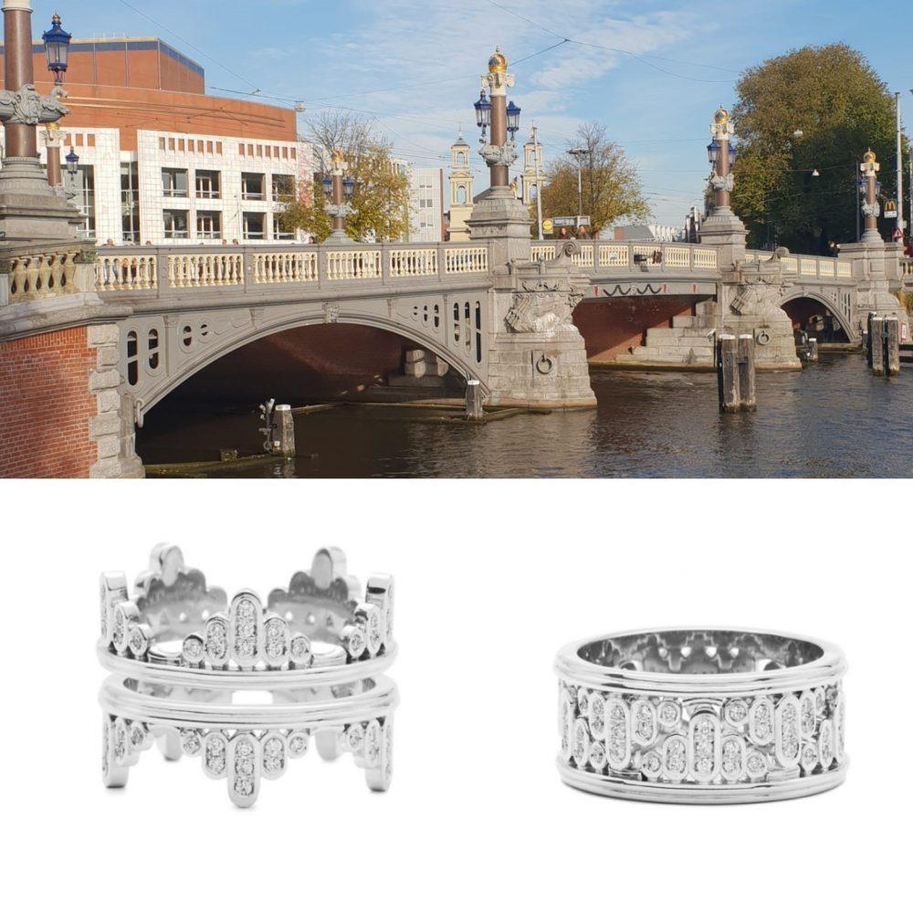 Bonebakker 18kt white gold diamond ring 'Reflections on the Amstel River'