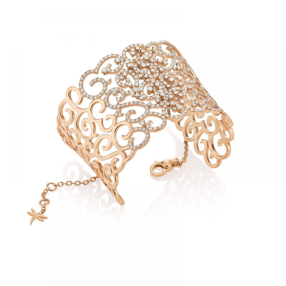 Casato 18kt rosegouden armband manchet met diamant