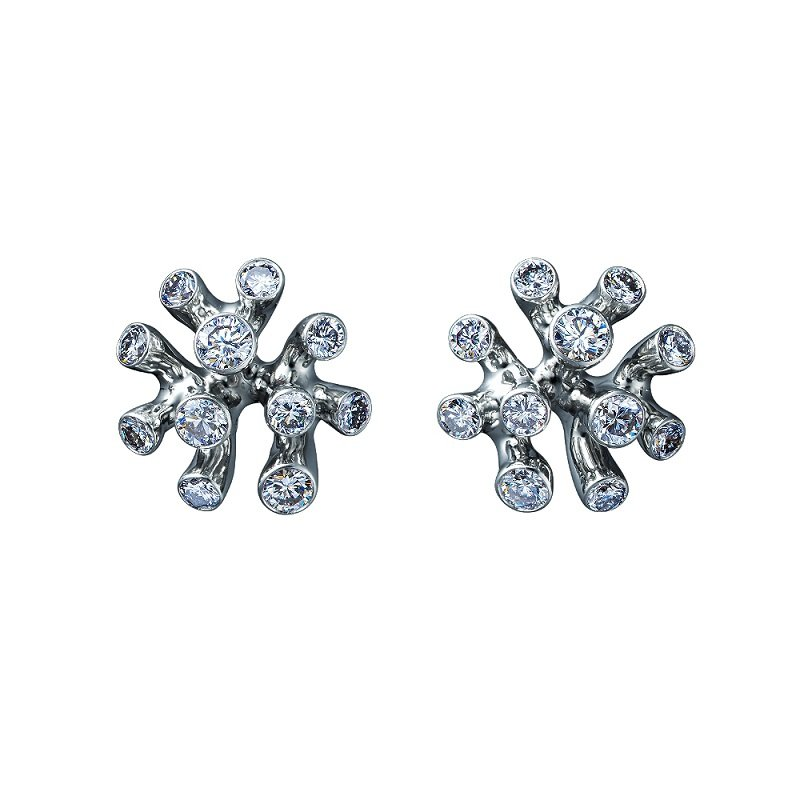 Jewellery Theatre 18kt white gold diamond studds Coral Collection