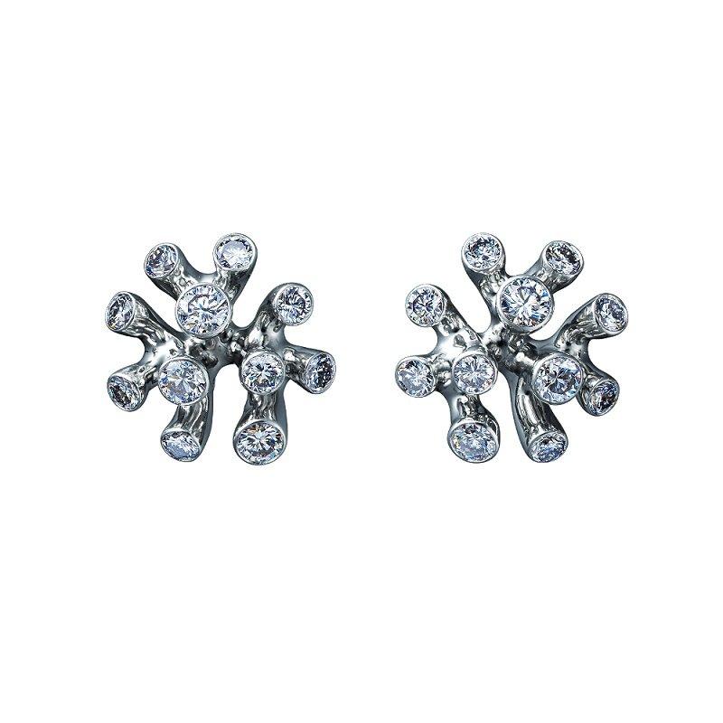 18kt witgouden oorsieraden met diamant, Zeekoraal Collectie