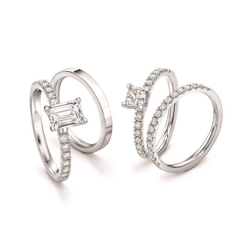 Bonebakker 18kt white gold diamond engagement rings and wedding bands