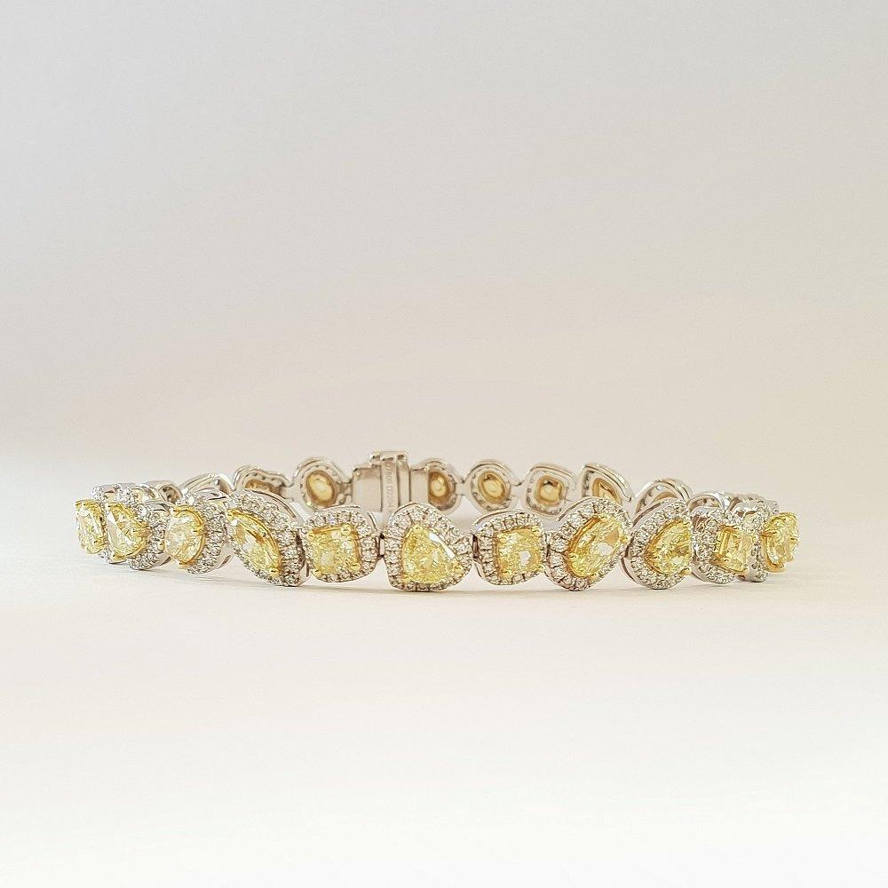 18kt witgouden armband met gele diamanten