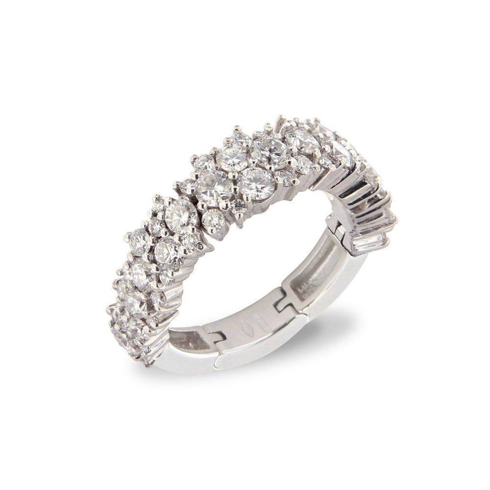 Bonebakker 18kt witgouden flexibele ring met diamant