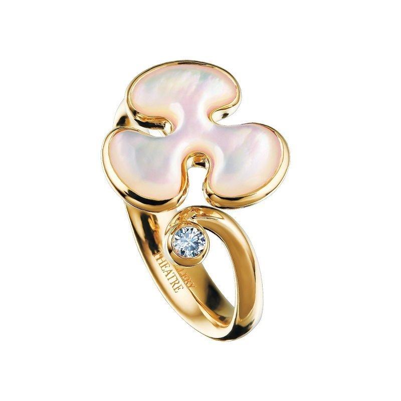 18kt geelgouden ring Freeform Collectie parelmoer en diamant