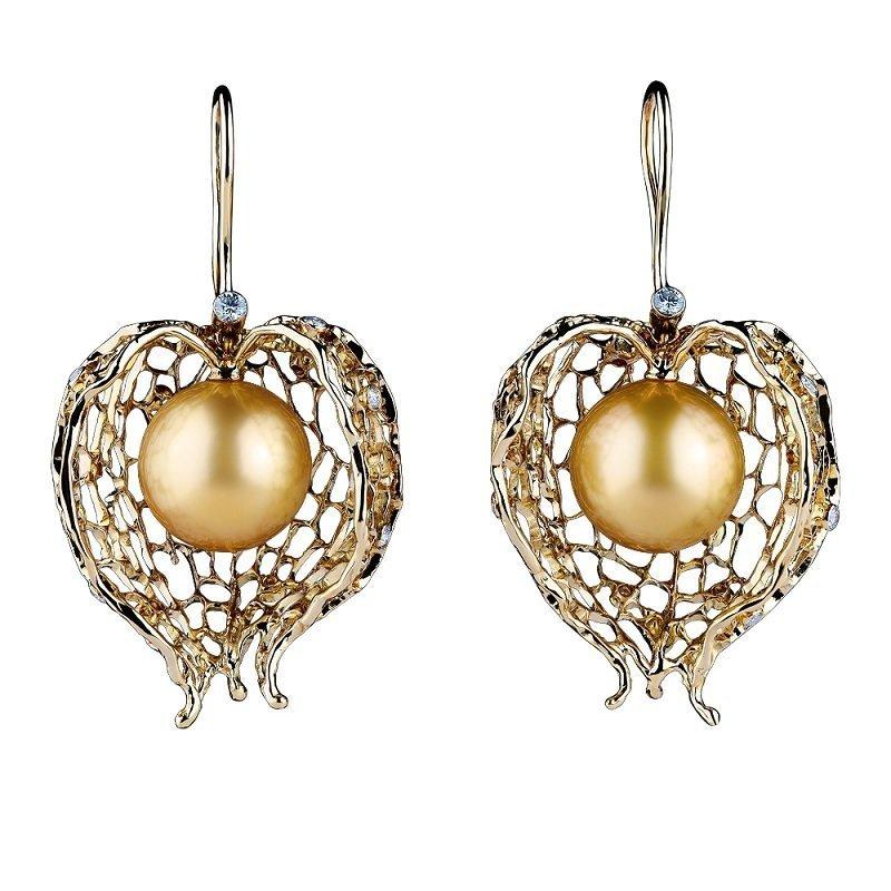 18kt geelgouden oorsieraden met gouden zuidzeeparels