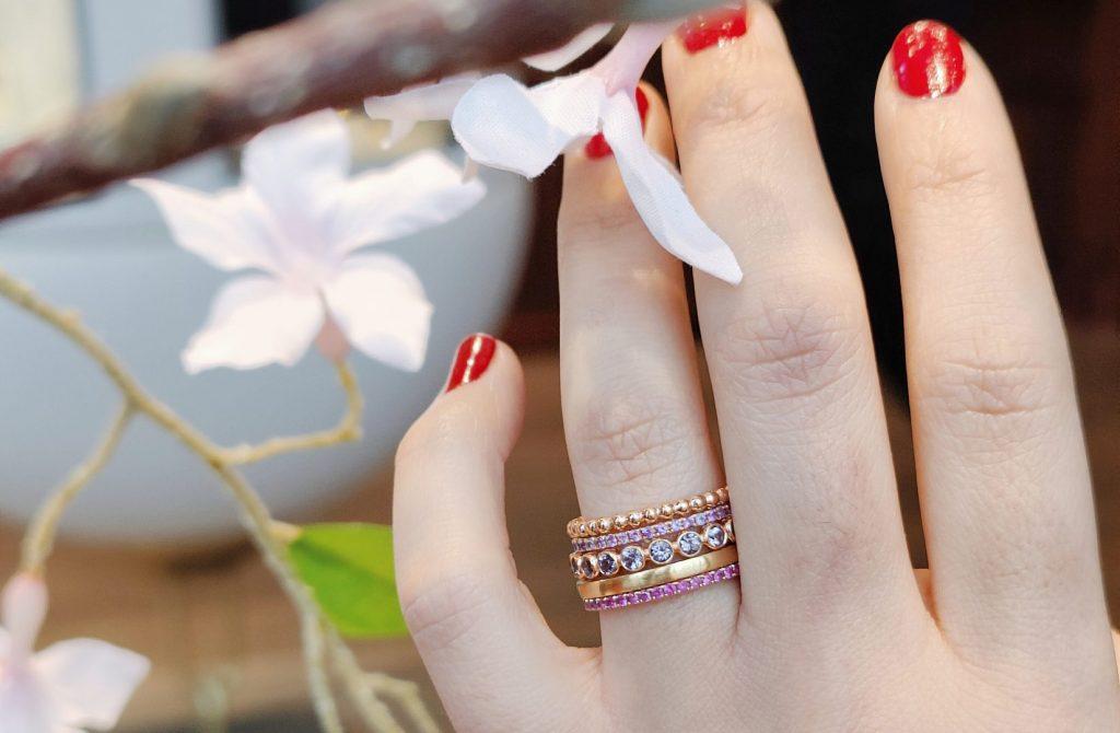 ring stack rose gold pink stones