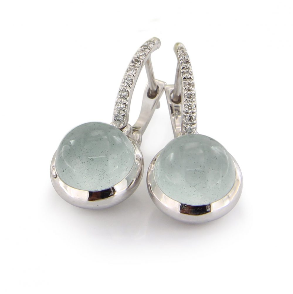 18kt white gold earrings with aquamarine and diamonds