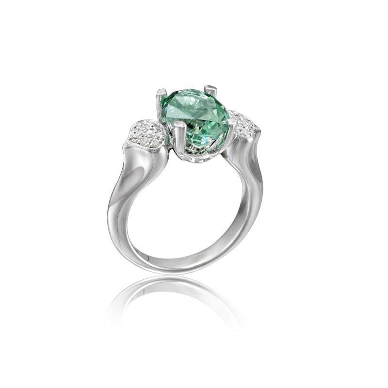 18kt witgouden ring met paraiba toermalijn en diamant