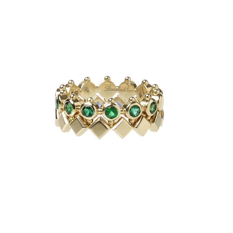 Bonebakker Regalia rings in 18kt yellow gold, plain or with emeralds