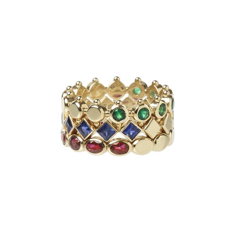 18kt geelgouden regalia ringen met saffier, robijn en smaragd