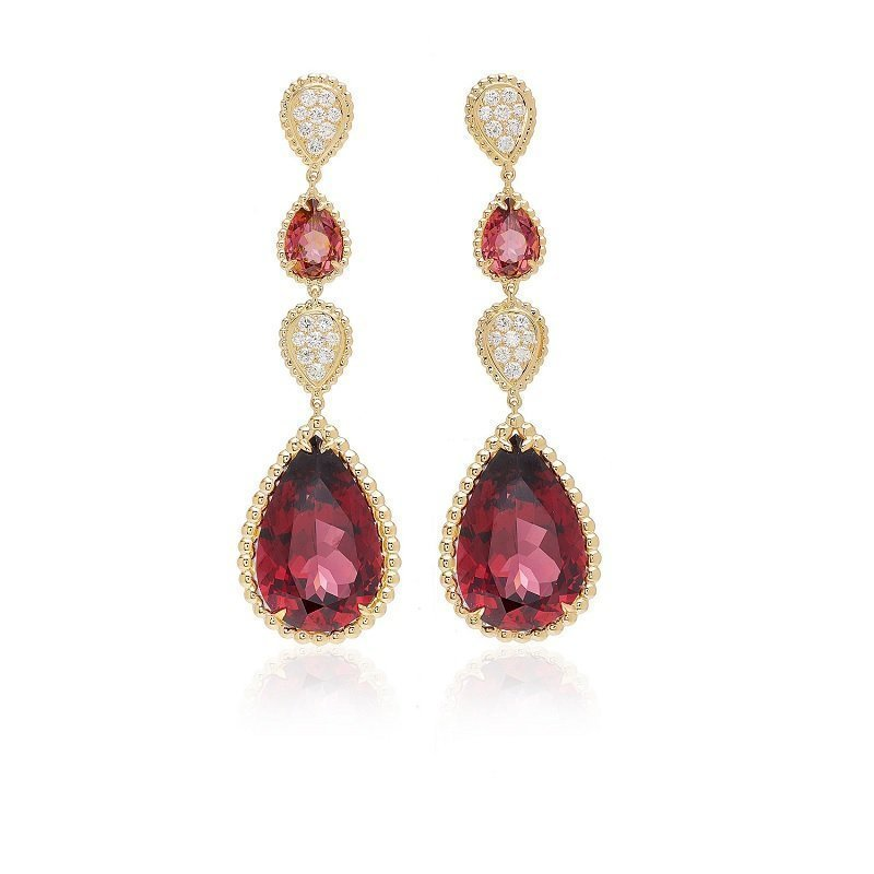 Boucheron 18kt pink gold rhodolite drop earrings, Serpent Boheme Collection