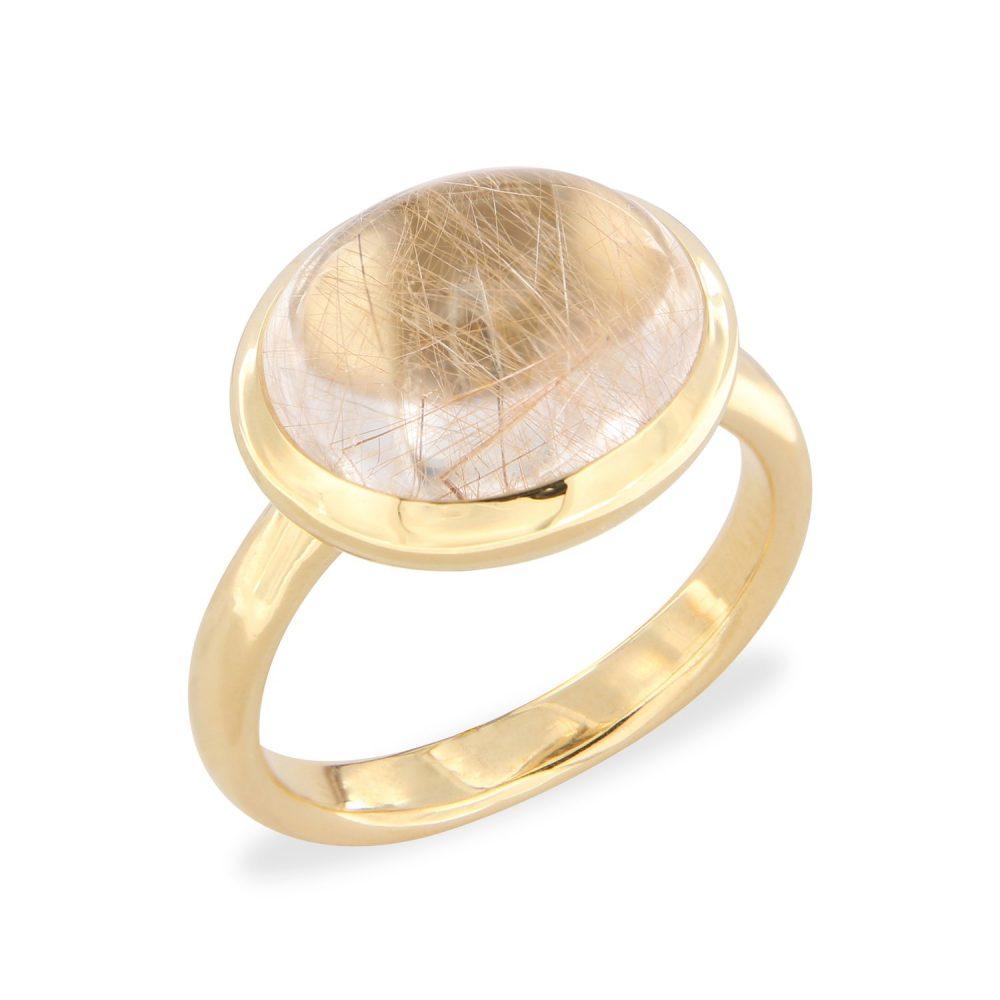 Bonebakker 18kt geelgouden ring met rutiel quartz