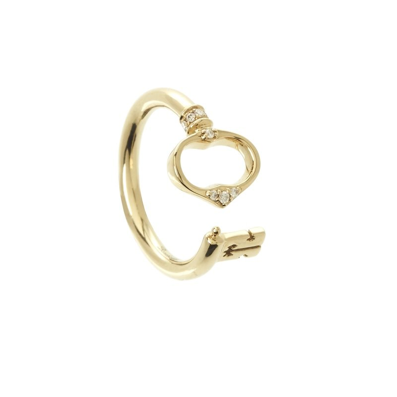 Bonebakker Sleutel van Amsterdam 18kt geelgouden ring met diamant