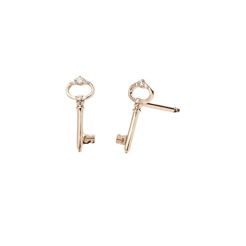 Bonebakker Sleutel van Amsterdam 18kt rosegoud met diamant oorstekers