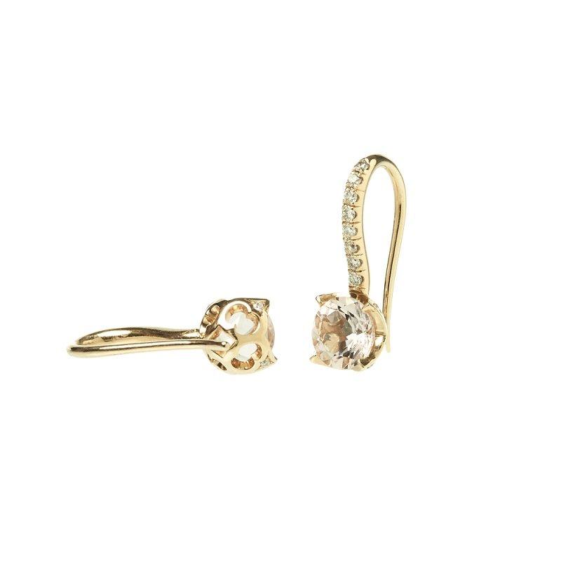 18kt geelgouden oorsieraden met diamant en morganiet, Sleutel van Amsterdam Collectie