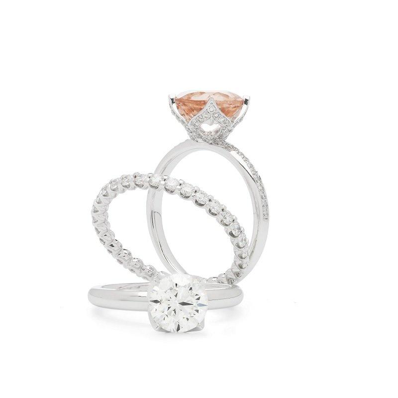 Bonebakker 18kt witgouden solitairring en trouwring met diamant, Sleutel van Amsterdam Collectie