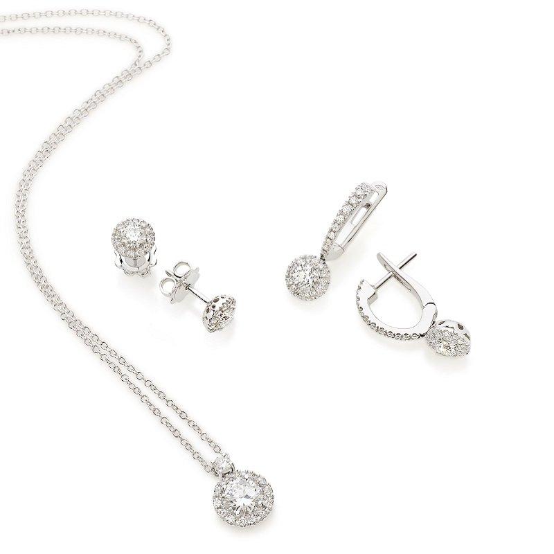 18kt witgoud solitair diamant set
