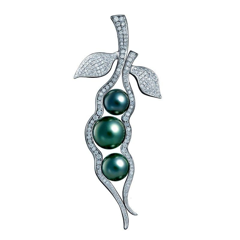 18kt witgouden hanger, brooche diamant en tahiti parels