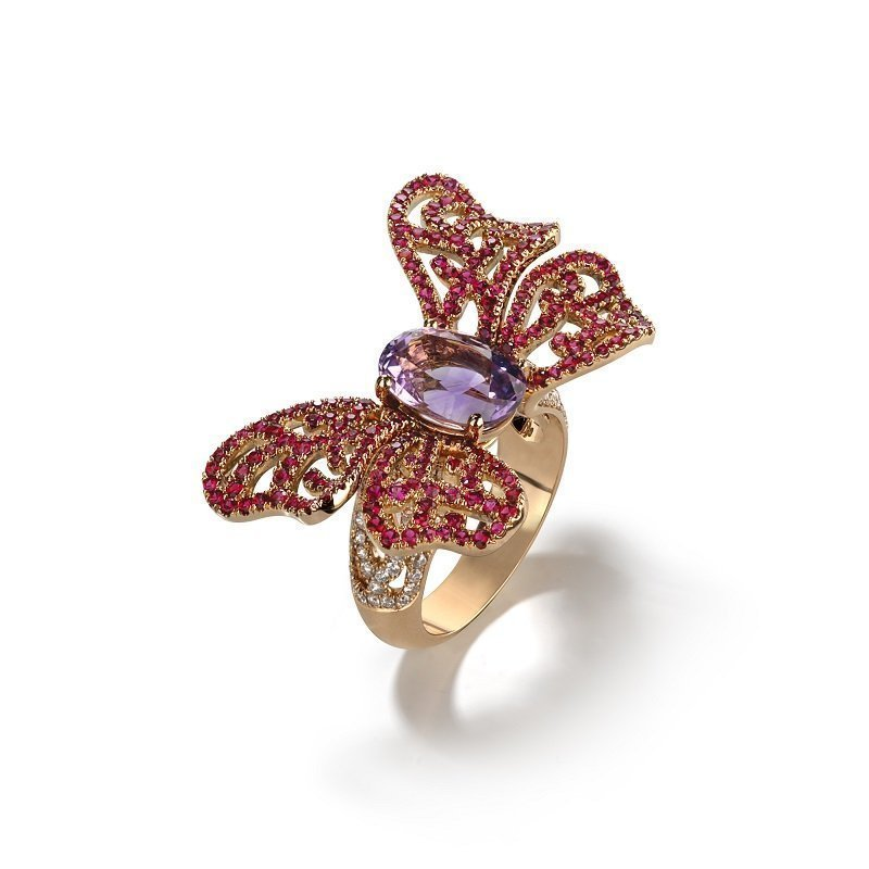 18kt rose gold butterfly ring rhodolite, diamonds and amethyst