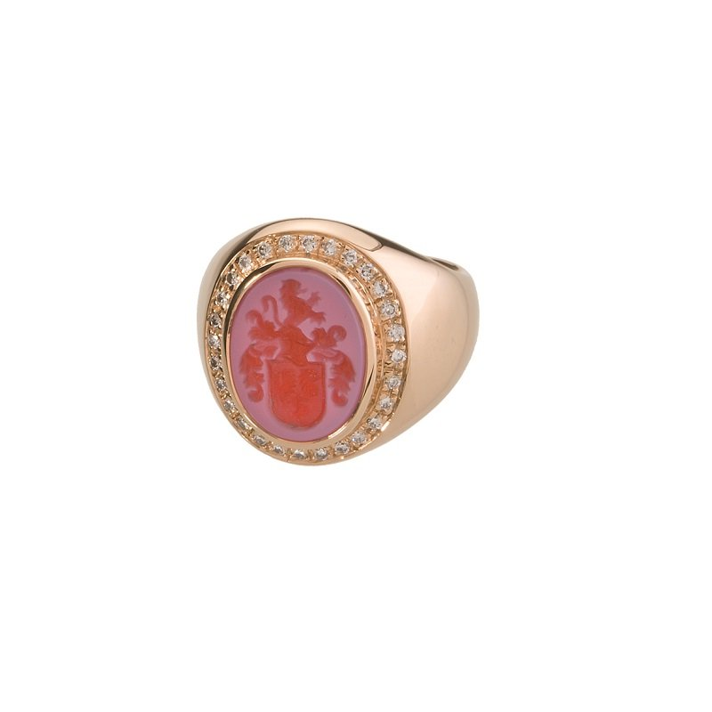 18kt pink gold pinky famlyy crest ring with diamonds
