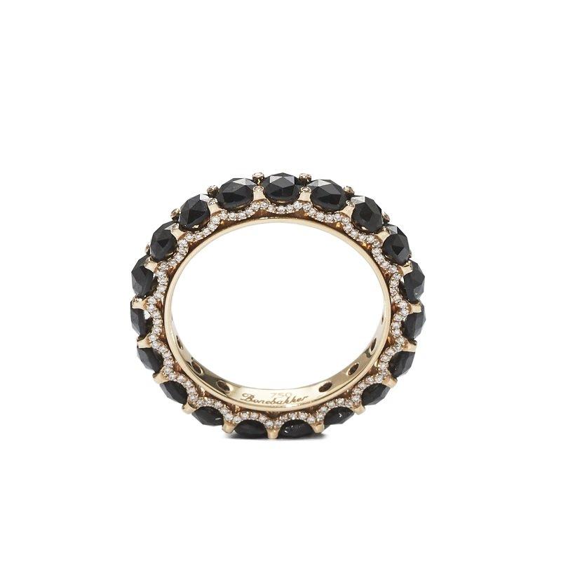Bonebakker 18kt rosegouden ring met witte and zwarte roosgeslepen diamant, verlichte bruggen Reguliersgracht